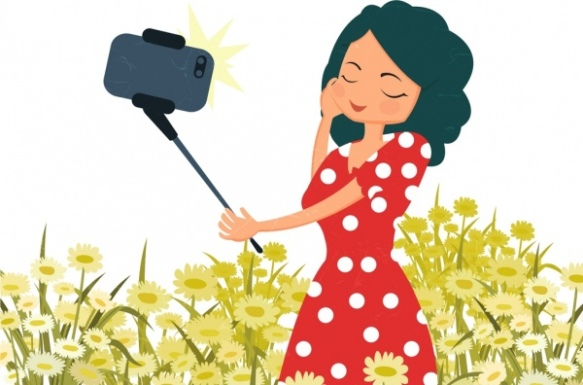 selfie-drawing-woman-smartphone-icons-colored-cartoon-243472